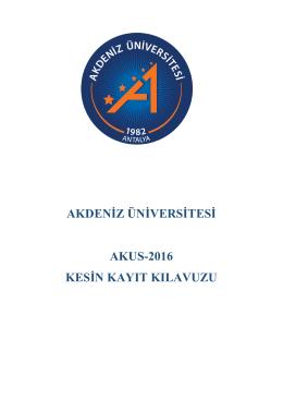 kayıt kılavuzu - BYS - Akdeniz Üniversitesi