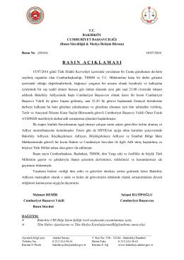 BASIN AÇIKLAMASI Bakırköy Cumhuriyet