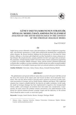 güney osetya sorununun stratejik diyalog modeli