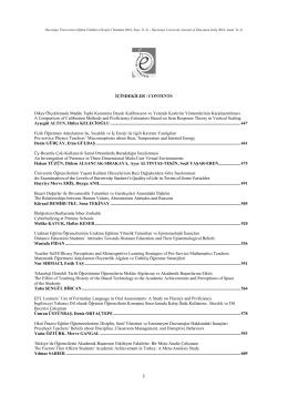 İçindekiler - Hacettepe Üniversitesi Eğitim Fakültesi Dergisi
