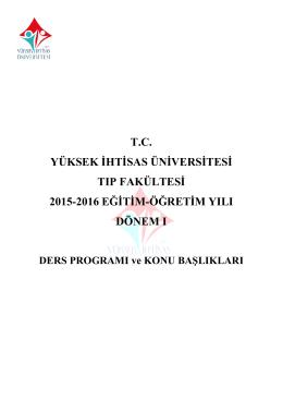 Ders Programı - Yüksek İhtisas Üniversitesi