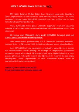 mtsk 3. dönem sınav duyurusu (acil) - tarsus ilçe millî eğitim müdürlüğü