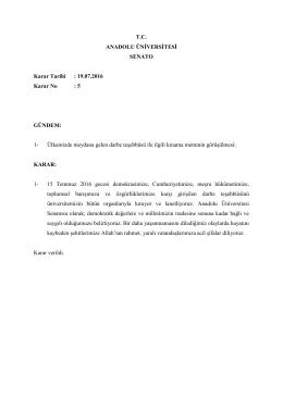 19.07.2016 Karar No - Anadolu Üniversitesi