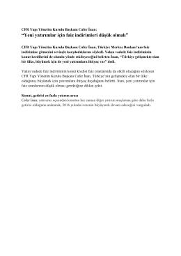 CFR YAPI - Faizde İndirim ve Konut Satışları