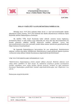 Dekan Vekilliği Talepleri