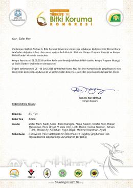 Zafer Mert FS-104 Sözlü Türk ye`de Pas Hastalıklarının İzlenmes ve