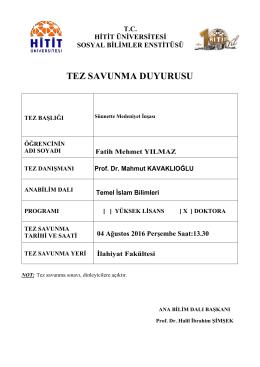 Fatih Mehmet YILMAZ - Hitit Üniversitesi