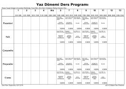 Yaz Dönemi Ders Programı - Recep Tayyip Erdoğan Üniversitesi
