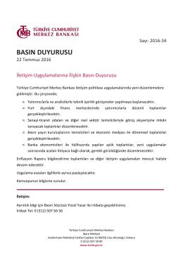 İletişim Uygulamalarına İlişkin Basın Duyurusu - 22/07/2016