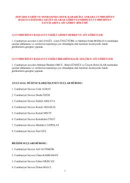 1 20/07/2016 tarihli hsyk kararı ile ankara cumhuriyet
