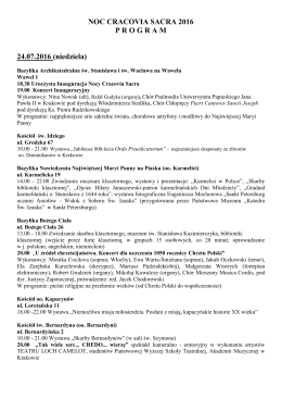Program do druku - Krakowskie Noce