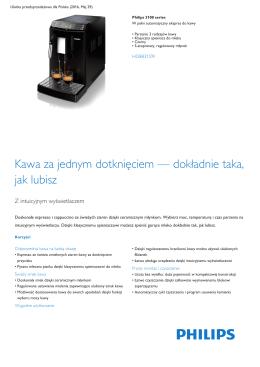 Product Leaflet: W pełni automatyczny ekspres do kawy