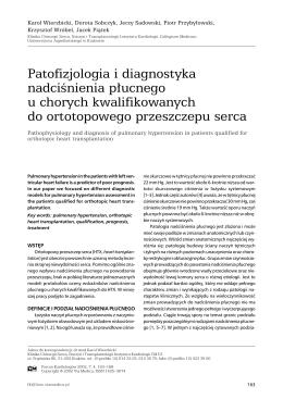 Patofizjologia i diagnostyka nadciśnienia płucnego u