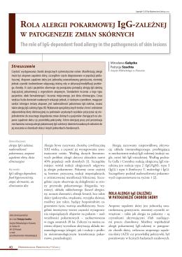 Rola aleRgii pokaRmowej igg-zależnej