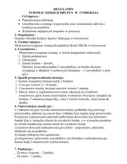 regulamin turniej dzikich drużyn /unihokej