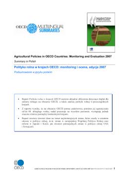 Polityka rolna w krajach OECD: monitoring i ocena, edycja 2007