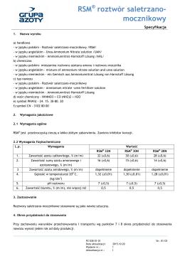 Specyfikacja RSM