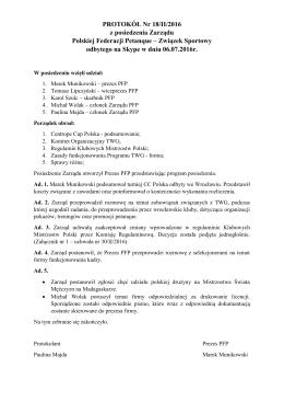 Protokół z posiedzenia Zarządu 18/II/2016