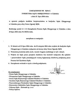 Zarządzenie Dyrektora Sądu Okręgowego w Gdańsku w sprawie