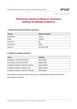 Ustawienia fabryczne i nazwy aplikacji mobilnych