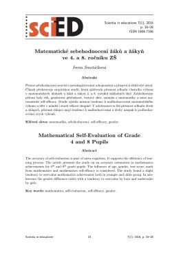 Matematické sebehodnocení žáků a žákyň ve 4. a 8. ročníku ZŠ