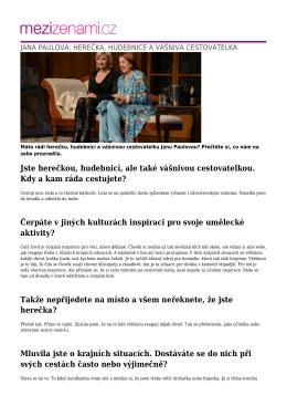 jana paulová: herečka, hudebnice a vášnivá