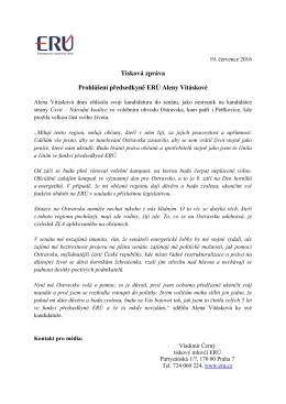 Tisková zpráva Prohlášení předsedkyně ERÚ Aleny Vitáskové