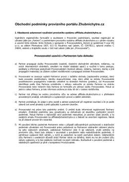 Obchodní podmínky provizního portálu Zhubnichytre.cz
