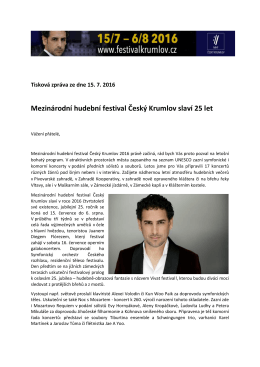 Mezinárodní hudební festival Český Krumlov slaví 25 let