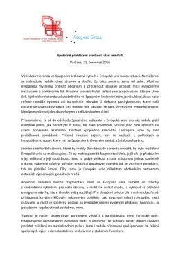 Společné prohlášení předsedů vlád zemí V4 Varšava, 21. července