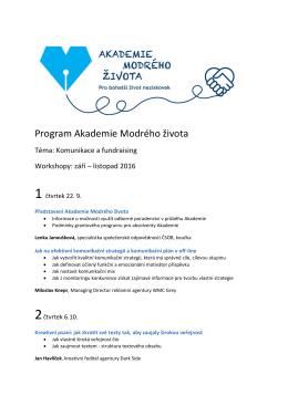 Program Akademie Modrého života
