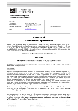 Usnesení o ustanovení opatrovníka, MěÚ Otrokovice, odbor