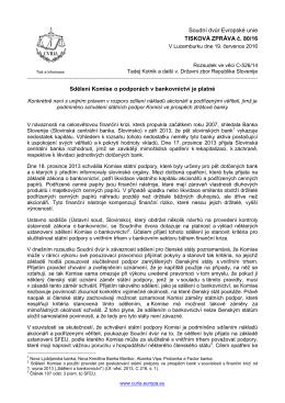 Sdělení Komise o podporách v bankovnictví je - curia
