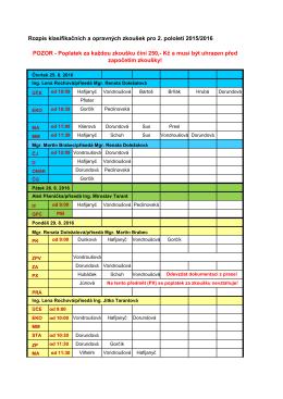 Rozpis klasifikačních a opravných zkoušek pro 2. pololetí 2015/2016