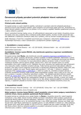 Červencové případy porušení právních předpisů: hlavní