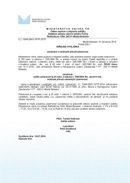 ŠĆUK Hana (ŠČUK Halima) - Ministerstvo vnitra České republiky