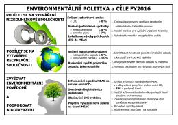 ENVIRONMENTÁLNÍ POLITIKA a CÍLE FY2016