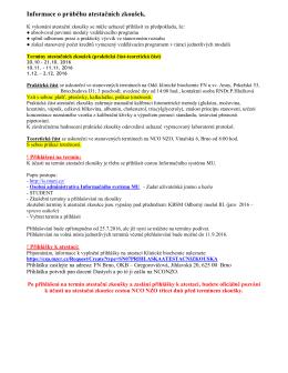 Informace o průběhu atestačních zkoušek