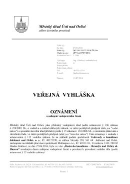 Veřejná vyhláška oznámení o zahájení vodopr