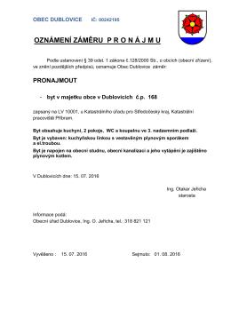 Záměr pronájmu bytu Dublovice č.p. 168