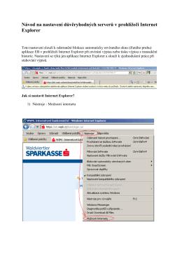 Nastavení důvěryhodných serverů v prohlížeči Internet Explorer