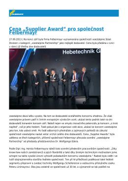 """Cena """"Supplier Award"""" pro společnost Felbermayr"""