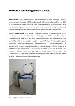 Kryokonzervace biologického materiálu