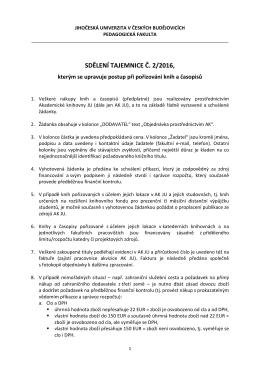 sdělení tajemnice č. 2/2016 - Pedagogická fakulta