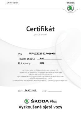 Certifikát - ŠKODA Plus