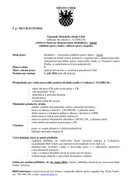 úředník/úřednice - referent/ka oddělení správy budov odboru