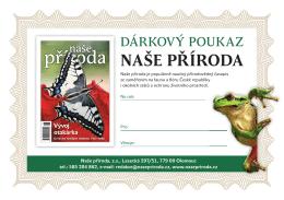 dárkový poukaz na předplatné časopisu naše příroda