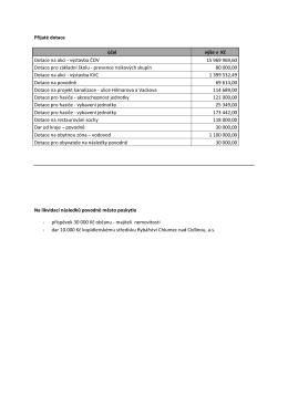 Přijaté dotace Na likvidaci následků povodně město poskytlo