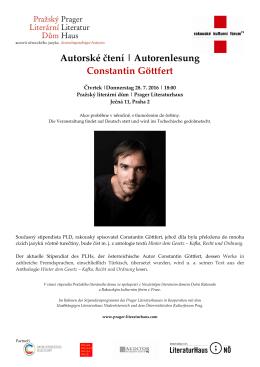 Autorské čtení | Autorenlesung Constantin Göttfert