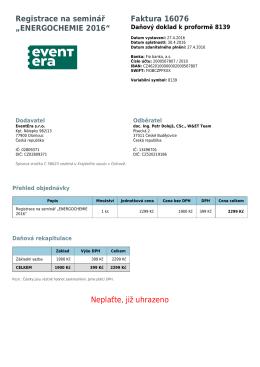"Registrace na seminář ""ENERGOCHEMIE 2016"" Faktura 16076"